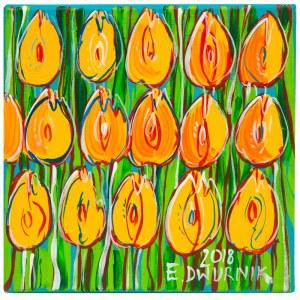 Edward Dwurnik (ur. 1943), Żółte tulipany, 2018