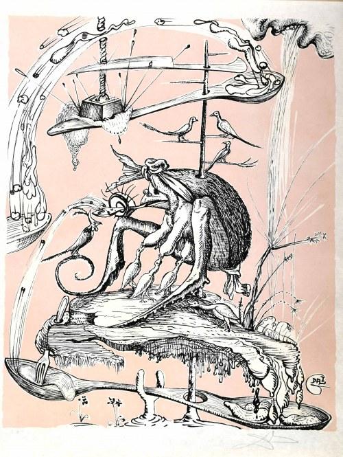Salvador Dalí (1904 Figueras, Hiszpania -1989 Figueras, Hiszpania), Z barwnego cyklu: Zabawne sny Pantagruela, 1973
