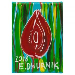 Edward Dwurnik, Czerwony Tulipan, 2018, 18 x 13 cm