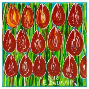 Edward Dwurnik, Czerwone Tulipany, 2018, 30 x 30 cm