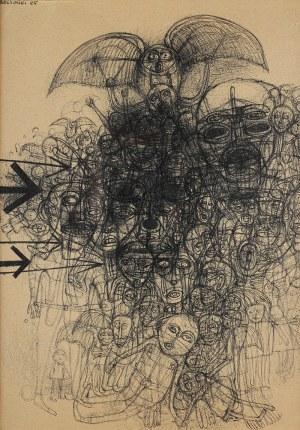 Zdzisław Beksiński, Kompozycja z sową i ludzkim tłumem, 1965