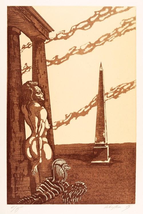 Jan Lebenstein (1930-1999), Kobieta, sfinks i obelisk, 1985