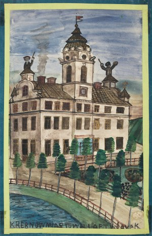 Nikifor Krynicki, Dwie postaci na dachu budynku z flagą