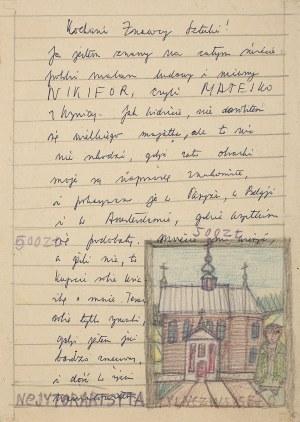 Nikifor Krynicki, List proszalny z autoportretem Nikifora przed kościołem w Tyliczu