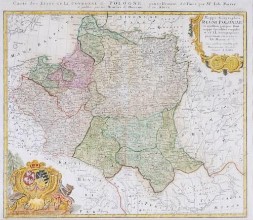 MAPA POLSKI, Johann Baptist Homann (spadkobiercy), Norymberga, 1750