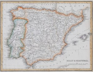 MAPA HISZPANII I PORTUGALII, Thomas G. .Bradford, Boston, USA, 1835