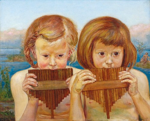 Wlastimil HOFMAN (1881-1970), Dziewczynki grające na multankach, 1917