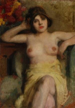 Alfons KARPIŃSKI (1875-1961), Akt kobiety w fotelu - portret żony artysty