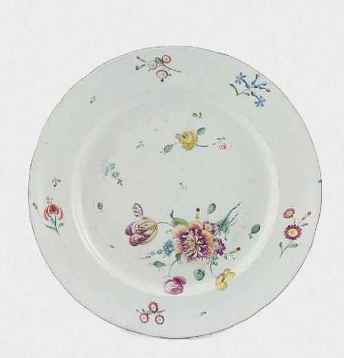 Frankenthal (Palatynat), Książęca Manufaktura Porcelany, Talerz serwisowy z dekoracją kwiatową
