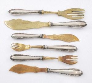 Sztućce do ryb dla 6 osób oraz nóż i widelec środka stołu w etui