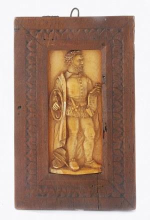 Plakieta z postacią mężczyzny - poety, w renesansowym stroju