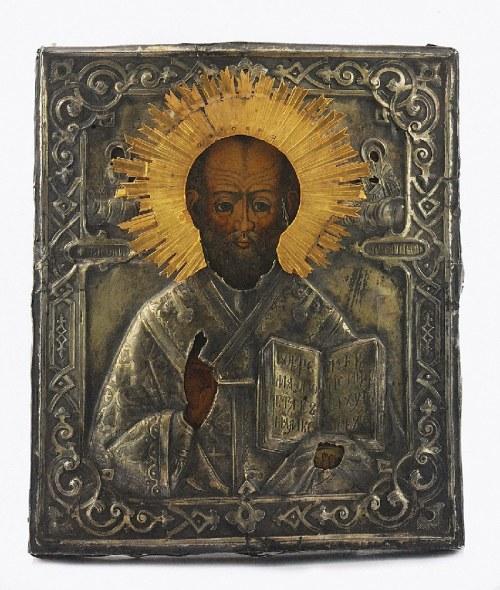 Antip IWANOWICZ KUZMICZEW (złotnik czynny od 1856), Ikona - Św. Mikołaj Cudotwórca, w srebrnym okładzie