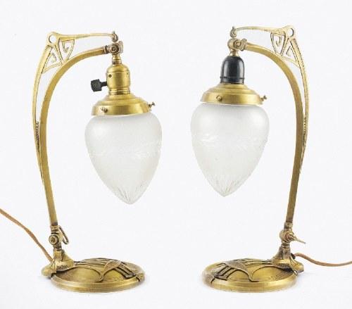 Para lampek elektrycznych, w typie secesji wiedeńskiej
