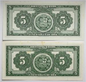 Peru, zestaw 2 banknotów 5 soli 1962