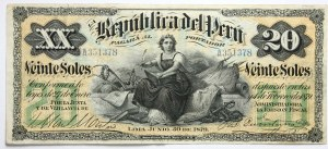 Peru, 20 soli 1879, ser. A351378