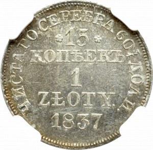 Zabór rosyjski, 15 kopiejek = 1 złoty 1837 MW, Warszawa - NGC MS63+