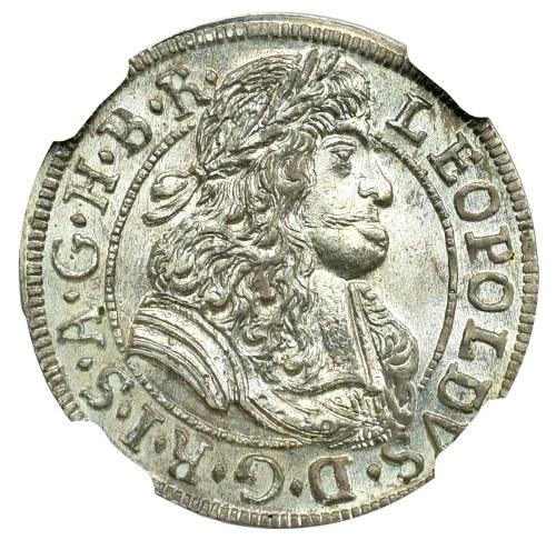 Austria, Leopold I, 3 kreuzer 1689 Hall - NGC MS66