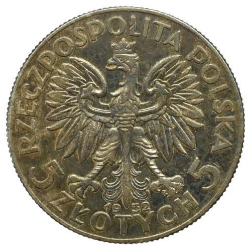 II Rzeczpospolita, 5 złotych 1932, Głowa kobiety, ze znakiem, Warszawa
