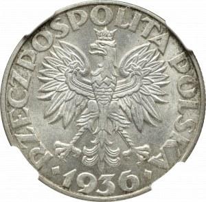 II Rzeczpospolita, 5 złotych 1936, Okręt - NGC MS62