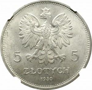 II Rzeczpospolita, 5 złotych 1930, Sztandar - NGC MS65