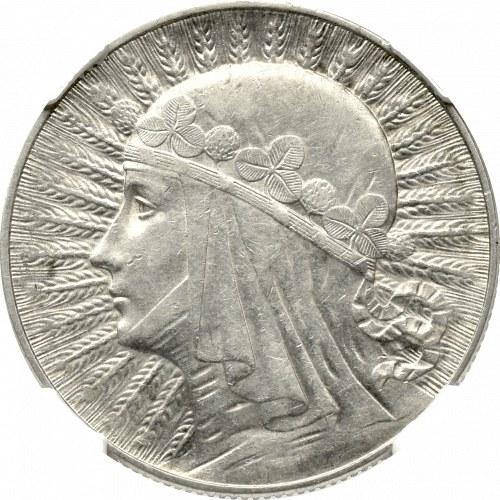 II Rzeczpospolita, 5 złotych 1932, Głowa kobiety, ze znakiem, Warszawa - NGC AU58