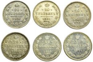Rosja, zestaw 20 kopiejek 6 sztuk, 1860-1871