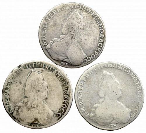 Rosja, Karzyna II, Zestaw 3 x rubel