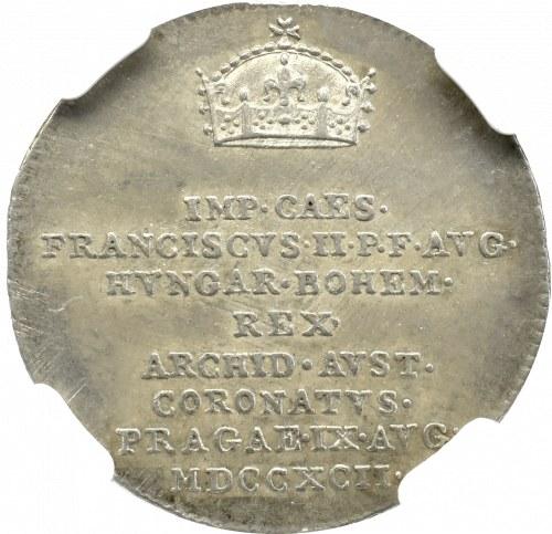 Austria, Franciszek II, żeton koronacyjny 1792 - NGC MS62