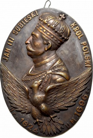 Polska, Plakieta pamiątkowa Jan III Sobieski 1908 - wymiary 24x33 cm