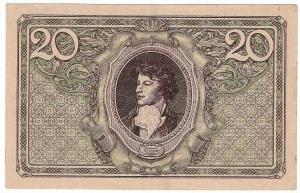 Polska, II Rzeczpospolita, 20 marek polskich 1919 F