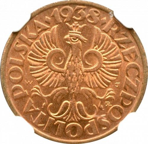 II Rzeczpospolita, 1 grosz 1938 - NGC MS66 RD