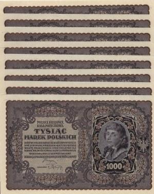 Polska, II Rzeczpospolita, Zestaw z jednej paczki 8 x 1000 Marek AS