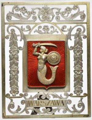 Polska, Plakieta z herbem Warszawy, duża - srebro, emalia 85x65 mm