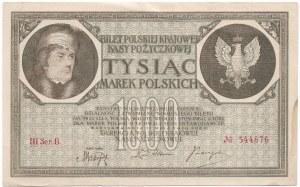 Polska, II Rzeczpospolita, 1000 Marek Polskich 1919 - Falsyfikat z epoki nie wyłapany przez emitenta - RZADKOŚĆ