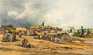 """Tadeusz Rybkowski (1848 Kielce – 1926 Lwów)Targ na """"Górce"""" w Borysławiu z widokiem na szyby naftowe, 1908 r."""