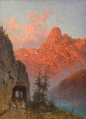 Aleksander Świeszewski (1839 Warszawa - 1895 Monachium)Rozżarzone Alpy, 1877 r.
