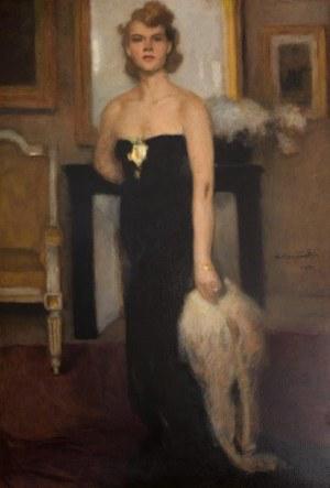 Alfons Karpiński (1875 Rozwadów - 1961 Kraków)Portret kobiety w wieczorowej sukni, 1932 r.