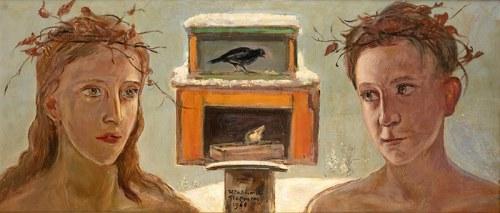 Wlastimil Hofman (1881 Praga - 1970 Szklarska Poręba)Dzieci przy karmniku dla ptaków, 1960 r.