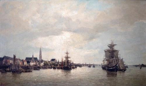 Arthur Bouvier (1837 Bruksela - 1921)Pejzaż z Antwerpii