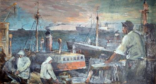 Marian Mokwa (1889 Malary - 1987 Sopot)Rybacy na Morzu Północnym, ok. 1960 r.