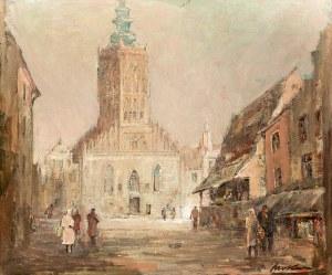 Marian Mokwa (1889 Malary - 1987 Sopot)Widok na kościół św. Katarzyny w Gdańsku