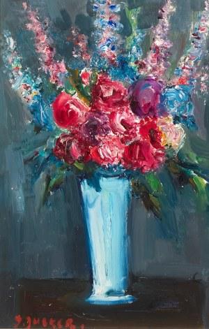 Jakub Zucker (1900 Radom - 1981 Nowy Jork)Kwiaty w błękitnym wazonie