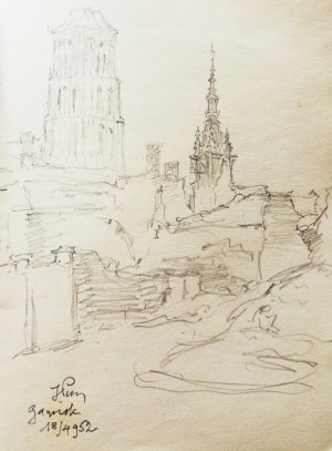 Józef Pieniążek (1888-1953), Ruiny Gdańska z wieżą Ratusza i bazyliki Mariackiej, 1952