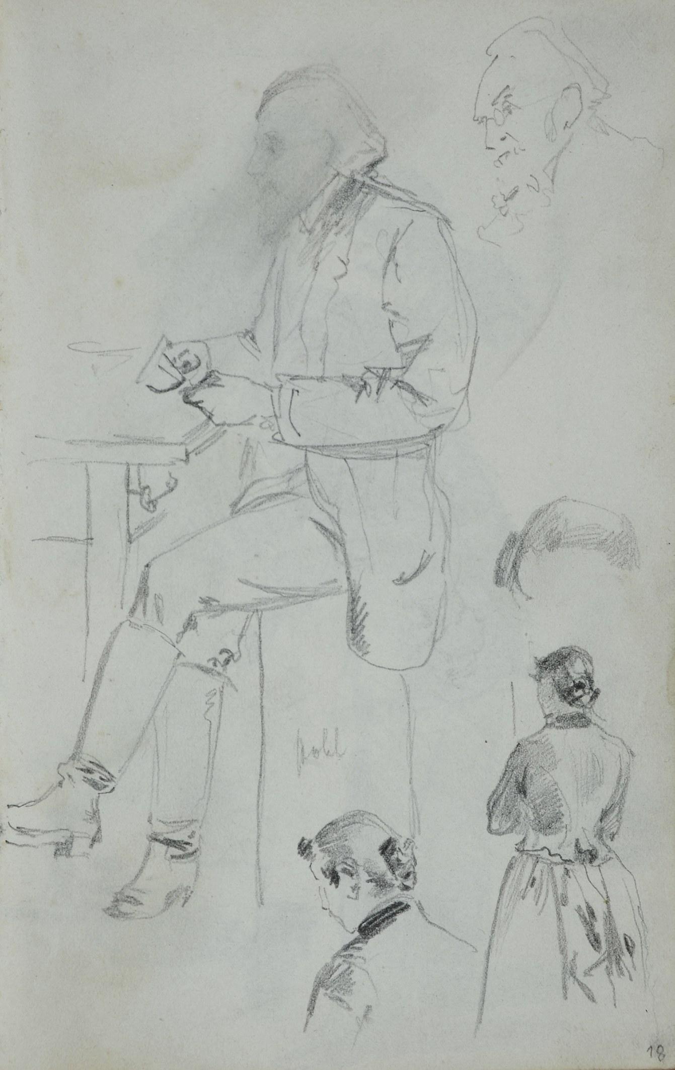 Stanisław Kaczor Batowski (1866-1945), Mężczyzna siedzący przy stole obok zarys jego twarzy oraz szkice kobiety ukazanej z tyłu