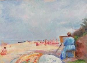 Wojciech Weiss (1875-1950), Aneri malująca na plaży, Jastrzębia Góra 1937