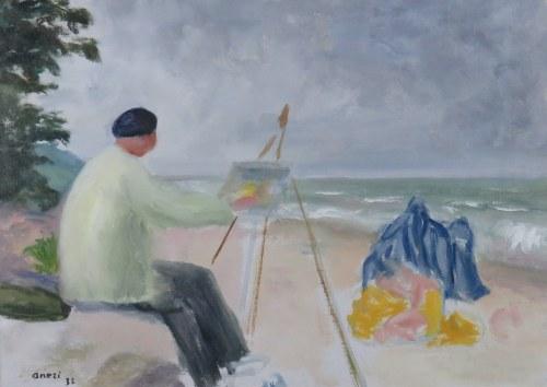 Aneri Irena Weissowa (1888-1981), Na plaży II - Artysta i jego modelka - Wojciech Weiss malujący nad morzem, 1935