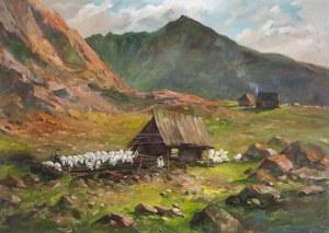 Leszek Stańko (1924-2011), Szałas z owcami w górach, 1966