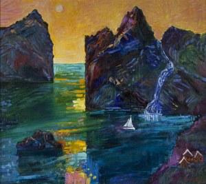 Jan Szancenbach (1928-1998), Pejzaż norweski z łódka, 1997