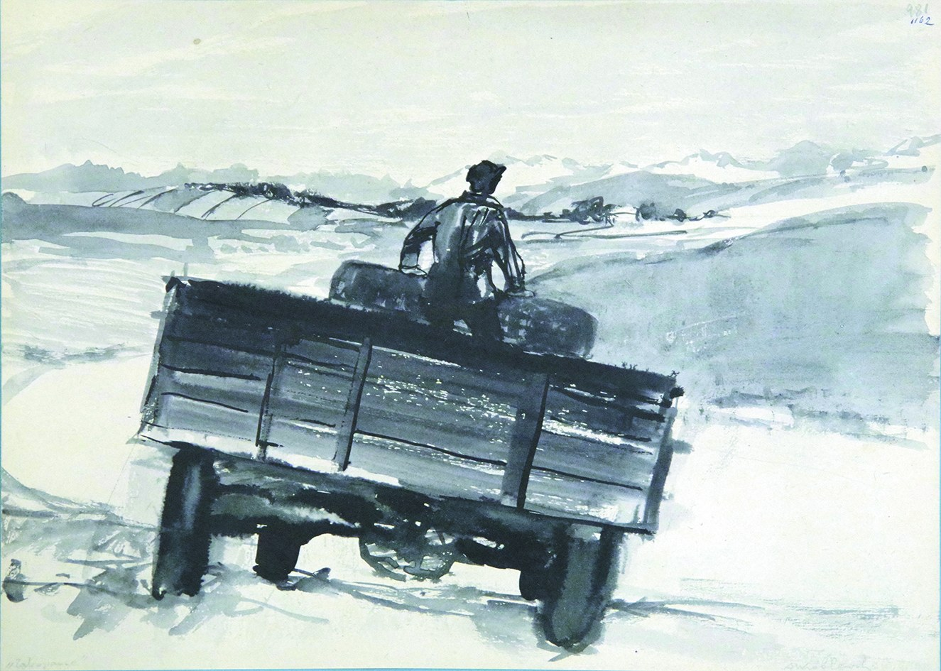 """Andrzej Wróblewski (1927-1957), PRACA DWUSTRONNA [""""ZAKOPANE""""] NA REWERSIE [GŁÓWKA DZIECKA], OK.1954 r."""