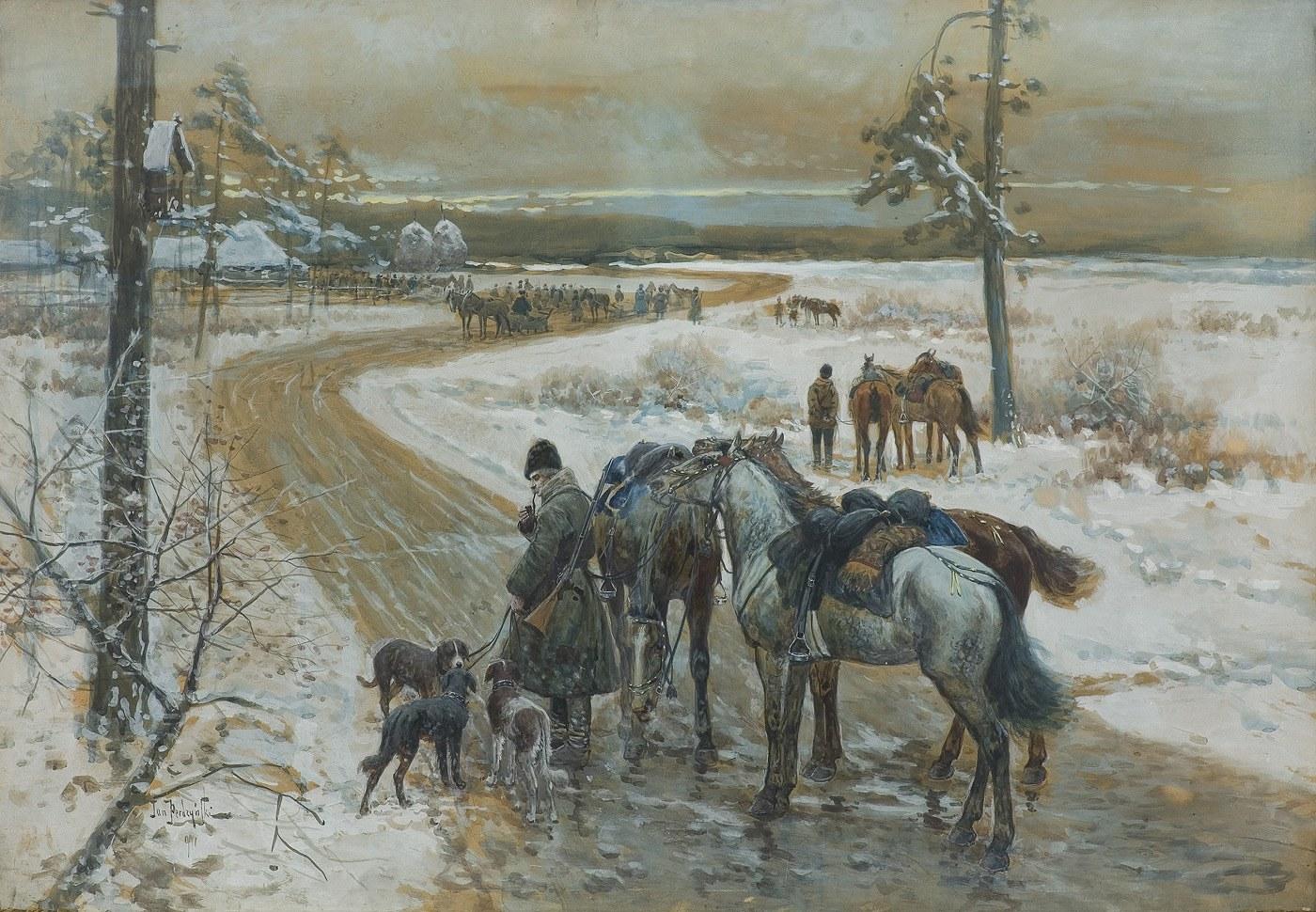 Perdzyński Jan, PRZED POLOWANIEM. CZEKAJĄC NA PANÓW, 1901